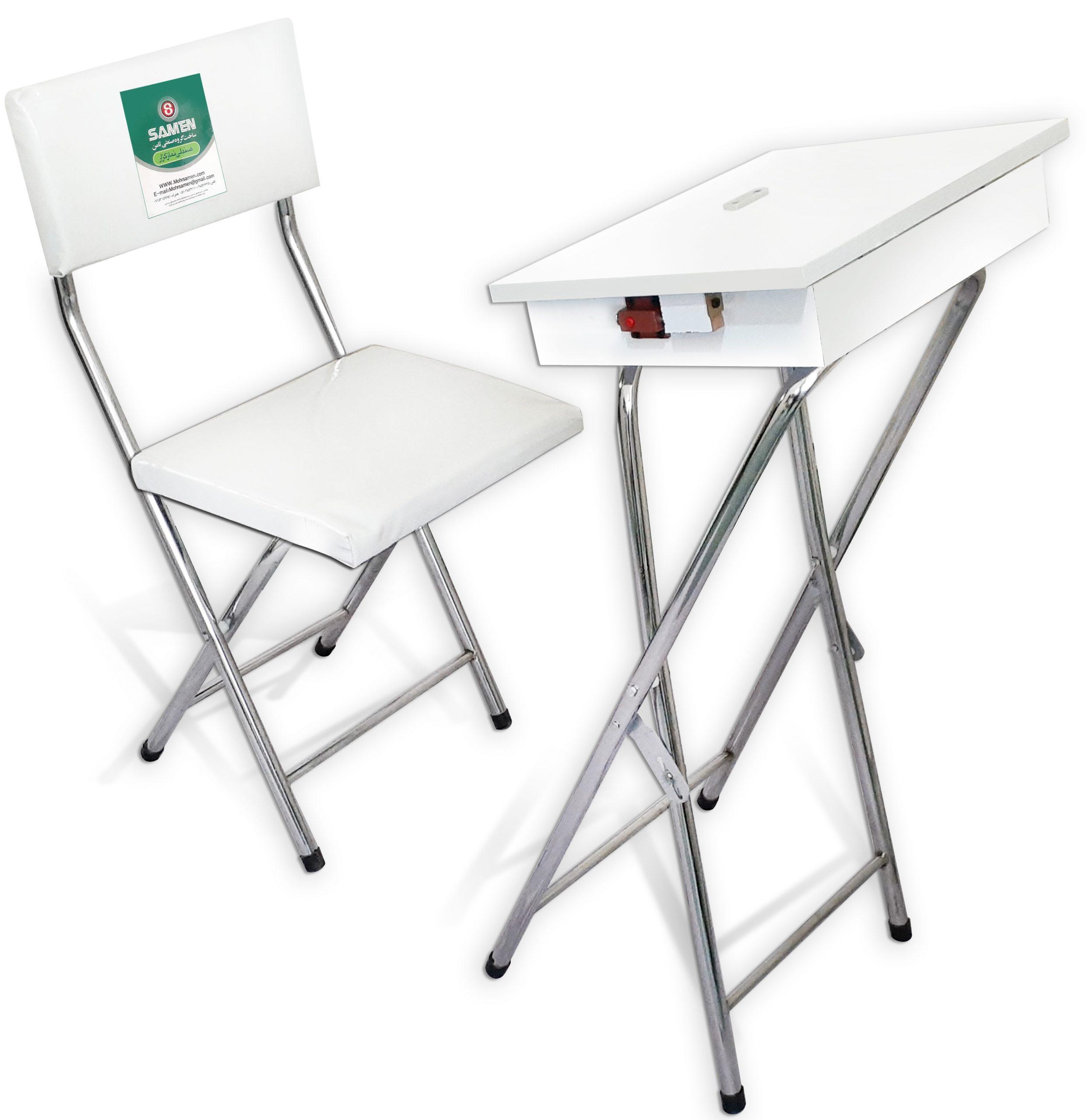 صندلی با میز جدا باکس دار استیل